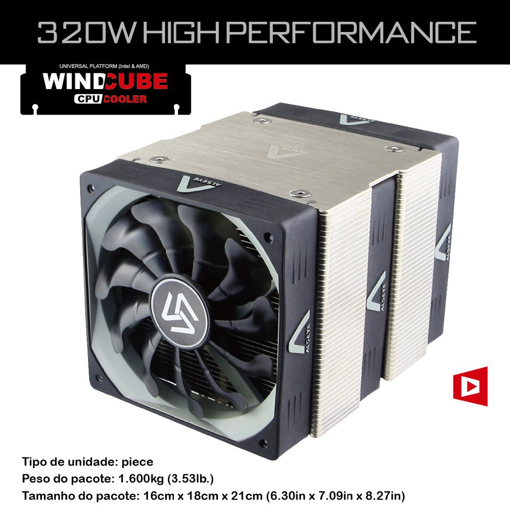 Wind Cube Hydraulic bearing powerful radiator gaming High power CPU Cooler 320W 1500RPM 3 fan Aluminum heat sink 120mm crab leg(China (Mainland))