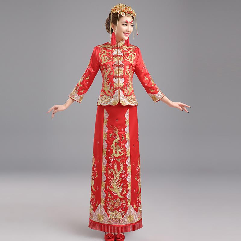 Formal gowns bride dress 2015 winter top new red clothing chinese