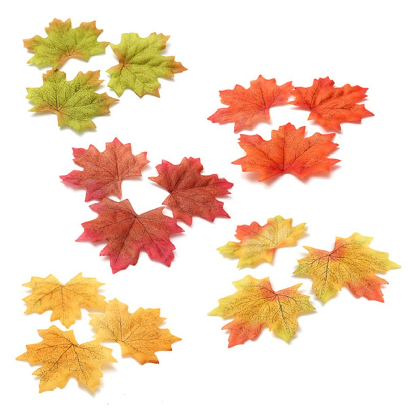 Artidicial Cloth Maple Leaves 100Pcs Multicolor Autumn Fall Leaf For Art Scrapbooking Wedding Bedroom Wall Party Decor Craft(China (Mainland))