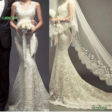 Imitated Silk and Lace Mermaid Wedding dresses Saudi Arabia Wedding gowns Plus size Vestidos de novia(China (Mainland))