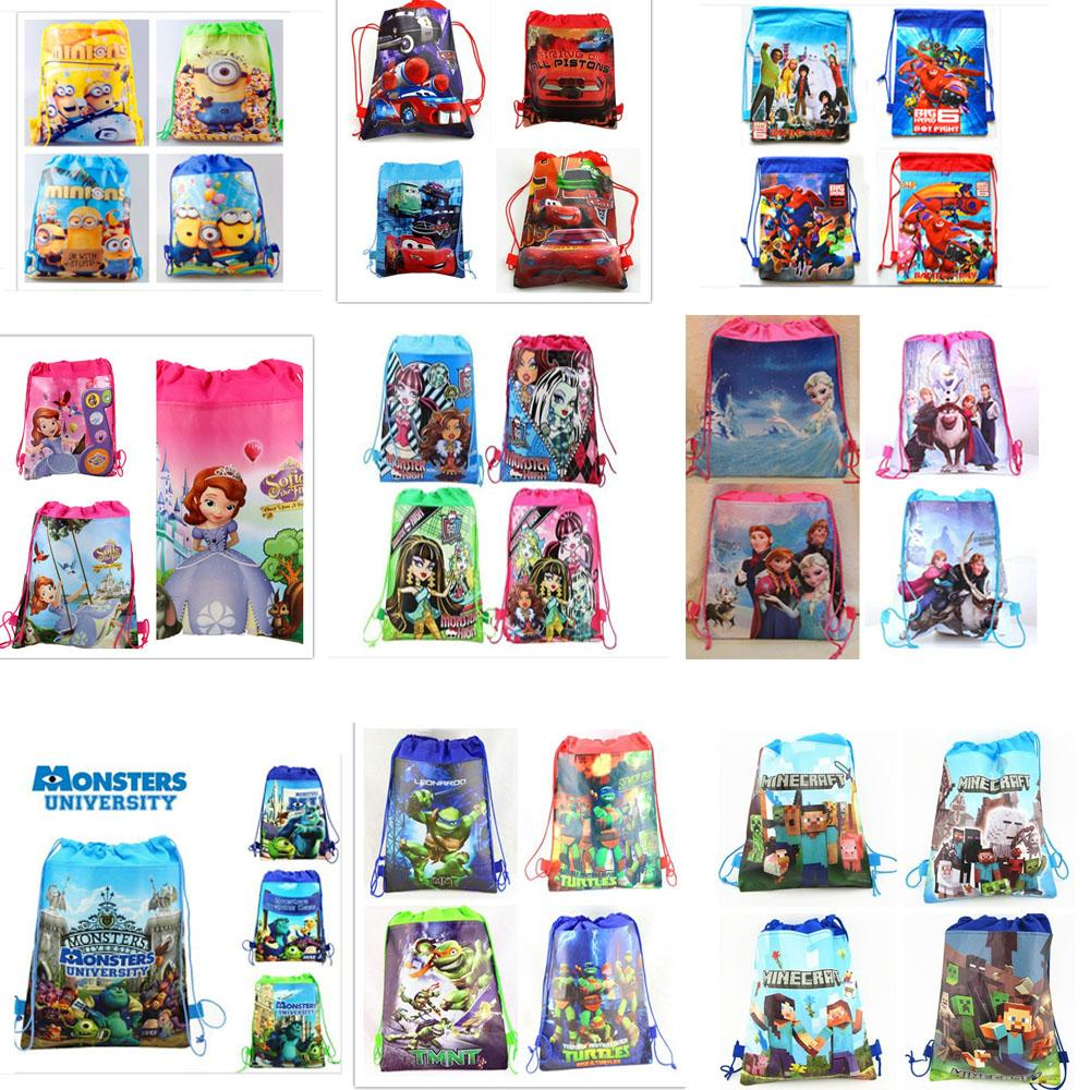 12Pcs Despicable Me Princess Anna Elsa Sofia Cars Cartoon Kids Drawstring Printed Backpack Beach Shopping School Traveling Bags(China (Mainland))