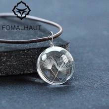 Buy FOMALHAUT Real Dandelion Jewelry Crystal Glass Ball Dandelion Necklace Long Strip Leather Chain Pendant Necklaces Women for $1.29 in AliExpress store