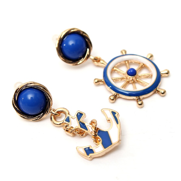 1Pair Earrings Blue Kiss Fashion Jewelry European And American Personality Style Anchor Beauty Stud Earring Hotting(China (Mainland))