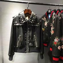 2016 new autumn winter 100% real sheepskin Genuine Leather Pearls ruffles turn-down collar Rib rivet jacket black coat women(China (Mainland))