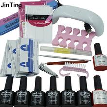NAIL ART BASE TOOL mini LED Lamp & 6 Color 10ml soak off Gel nail base gel top coat gel polish kit nail Manicure tools(China (Mainland))