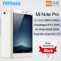 "In Stock! 2015 Xiaomi Mi Note Pro Mobile Phone 4G LTE 5.7"" 2560x1440 4GB RAM 64GB ROM Snapdragan810 Octa Core 13.0MP Android 5.0"