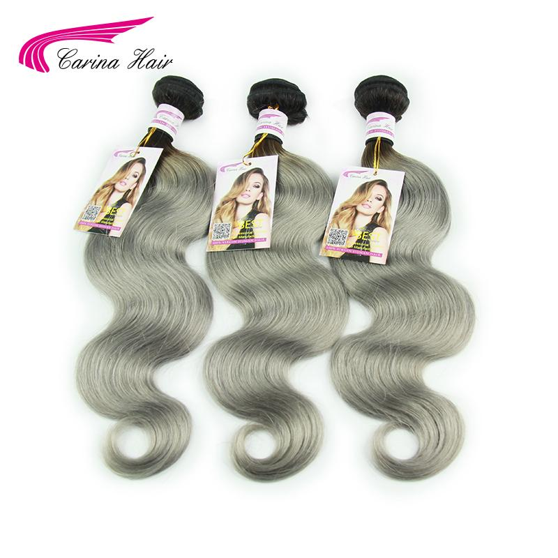 Brazilian Virgin Hair with Closure 1b Grey Ombre Human Hair with Lace Closure Brazilian Body Wave 3 Bundles with Closure 4x4<br><br>Aliexpress