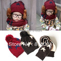 1set Free shipping 2016 Winter Five-pointed star Children knitted Scarf&hat 2 pcs set  kid winter scarf warmer hat for 9-24Month