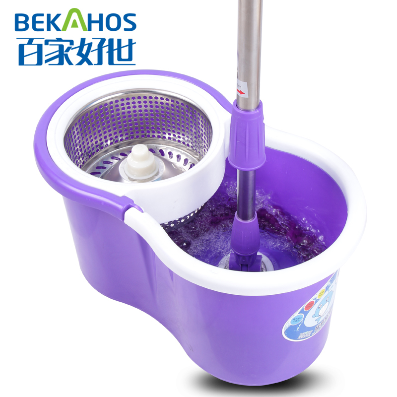 2014 New Hurricane 360 Spin Mop With Purple Mini Spinning Mop Bucket &2 Microfiber Floor Mop Heads Household Floor Cleaning Mop(China (Mainland))