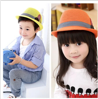 Baby Girls And Boys Kids Cap Children Cool Summer Beach Sun Hat Jazz Trilby Checked Cap HL44(China (Mainland))