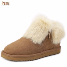 INOE fashion genuine sheepskin leather suede women real rabbit fur winter short ankle snow boots for girls zipper winter shoes(China (Mainland))