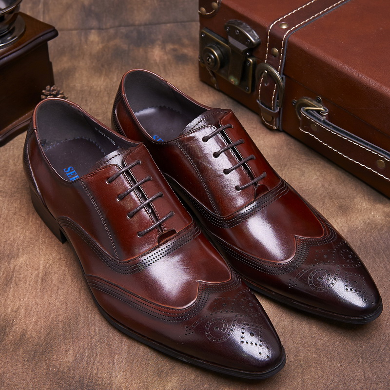 US5.0-10 Plus Size air Genuine Leather Men's Shoes Business Formal Brogue RoundToe Carved Oxfords Vintage Wedding Dress Shoes(China (Mainland))