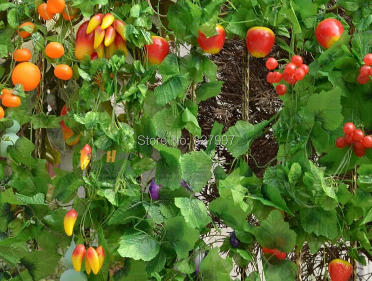 20pcs/lot Fake plastic fruit vegetables rattan 2.4m for home wedding party decoration artificial plant free shipping(China (Mainland))