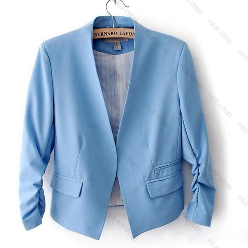 New Design Women Casual Business Suits Candy Color Three Quarter Sleeve Blazer Cheap Price 3 Color Available(China (Mainland))