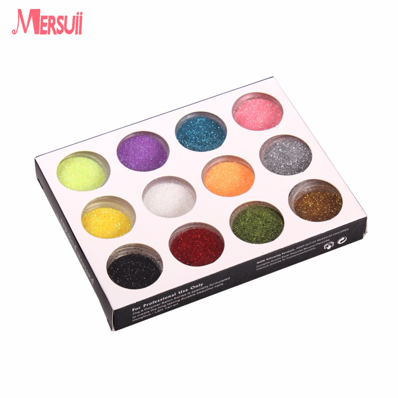 Fashion 12 Color Metal Glitter Nail Art Tool Kit Acrylic Powder Dust gem Polish Nail Tools UV Gel DIY Drop Shipping Wholesale(China (Mainland))