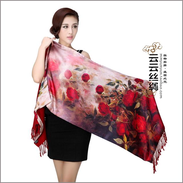 Роскошный 100% чистый шелковый шарф мыс загущающие женщины осень и зиму дизайн cappa