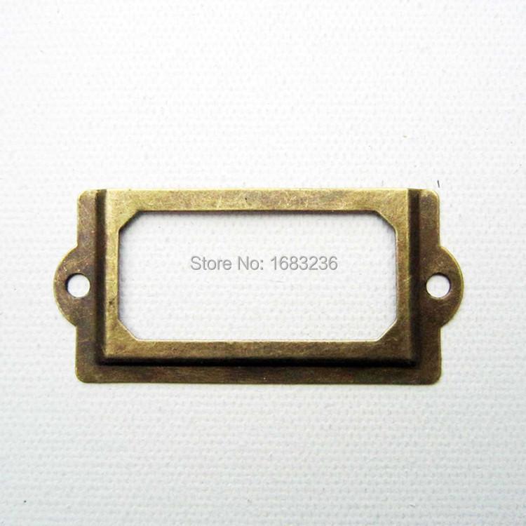 12pcs Antique Brass Metal Label Pull Frame Handle File Name Card Holder For Furniture Cabinet