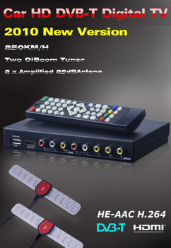 2013 hot sales High speed 250km/h dvb t car tv receiver MPEG4/H.264 2 tuner PVR USB Record  free shipping