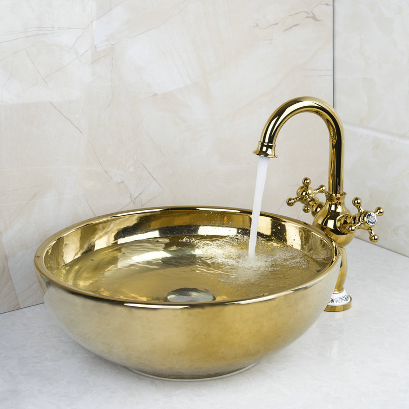 Polished Golden Bowl Sinks / Vessel Basins With Waterfall Faucet Washbasin Ceramic Basin Sink &amp; Faucet Tap Set 46029834<br>