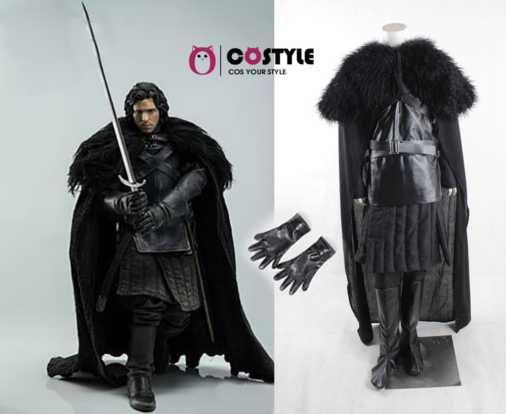 2015 New Halloween Adult Game of Thrones Cosplay Costume Jon Snow Costume Outfit Full Set