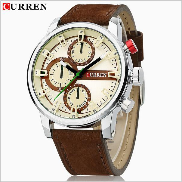 Hot sale Curren Genuine 2015 new watches men military watch fashion business watch man leather strap