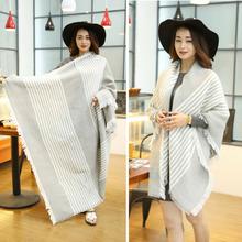 Women Fashion Stripe Tassels Blanket Scarf Wrap Shawl Cozy Faux Cashmere new arrival(China (Mainland))