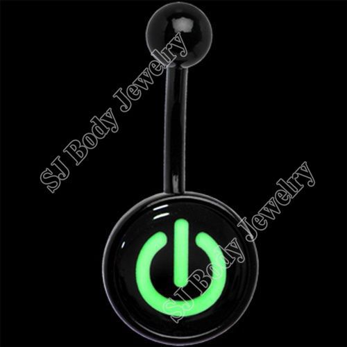 New arrival black anodized stainless steel glow in the dark navel belly rings belly button pircing jewellery pircing ombligo(China (Mainland))