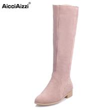 Buy Women Real Genuine Leather Knee Boots Woman Flat Zipper Botas Feminine Winter Fur Warm Footwear Shoes Size 34-39 for $54.23 in AliExpress store