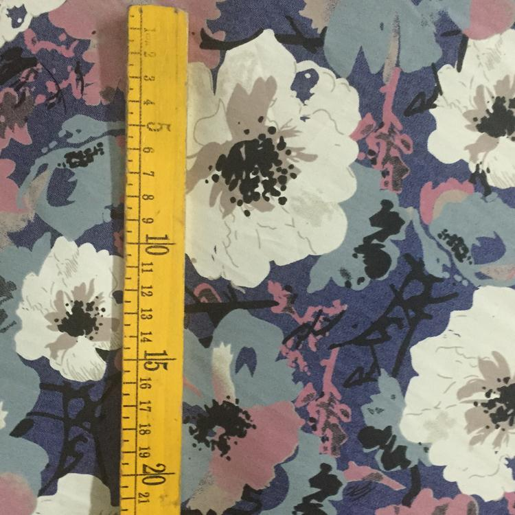 retro Kapok thin printed denim fabric cotton without stretch washed not fade spring and autumn clothing fabric cloth(China (Mainland))