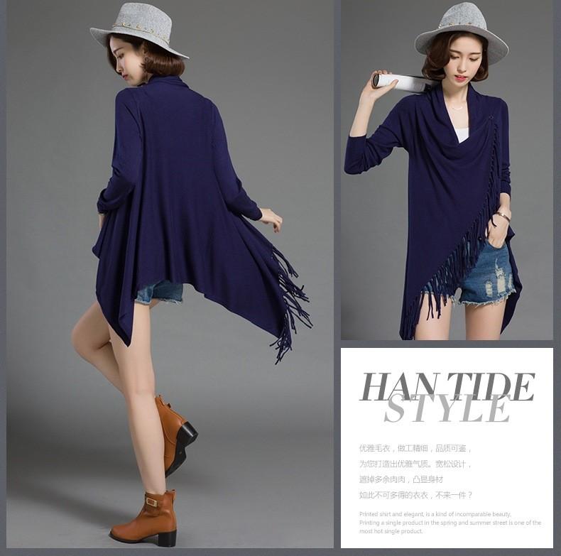 2016 Autumn Winter Fashion Tassel Cardigan Women Long Sleeve Slim Cardigan Sweater Womens Knitted Female Cardigan Pull Femme