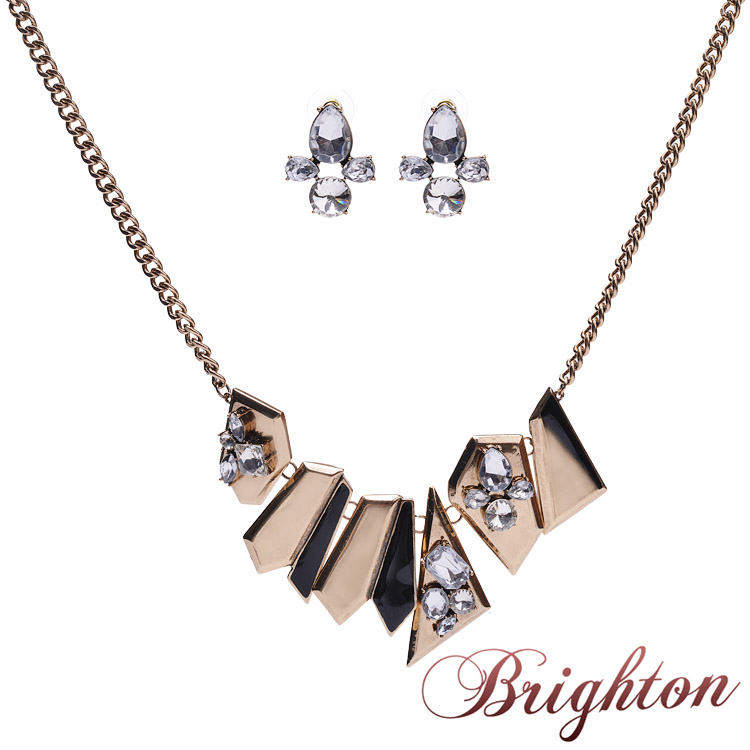 2015 new European and American fashion zinc alloy green \ gold necklace and earrings suit jewelry sets(China (Mainland))