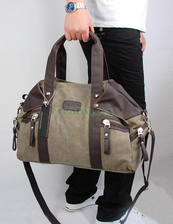 Men's Canvas Travel Style Handbag Messenger Shoulder Cross Body Backpack Tote Casual Bag
