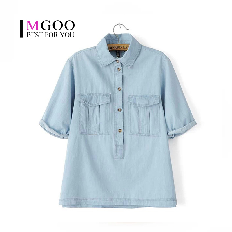 Mgoo Women Blouses 2015 Summer Denim Jeans Shirt Half