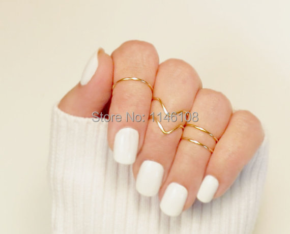 2015 Wholesale Knuckle Ring Set of 50, Knuckle Ring Set, 20 Chevron 30 Band Adjustable Midi Stacking Dainty Gold (50pcs/lot)(China (Mainland))