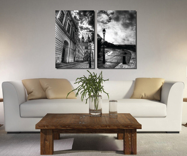 hot new 2 pieces canvas wall art picture painting decoration home canvas Prints Black and white painting the sky full of dark cl(China (Mainland))