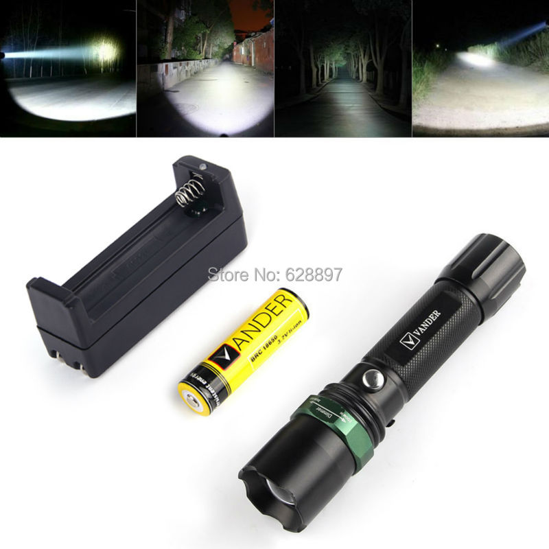 US Ship T6 1200LM Powerful Led Flashlight CREE XM-L LED Lantern Zoom In/Out LED Torch Light Black Linternas+18650 BatteryCharger(China (Mainland))