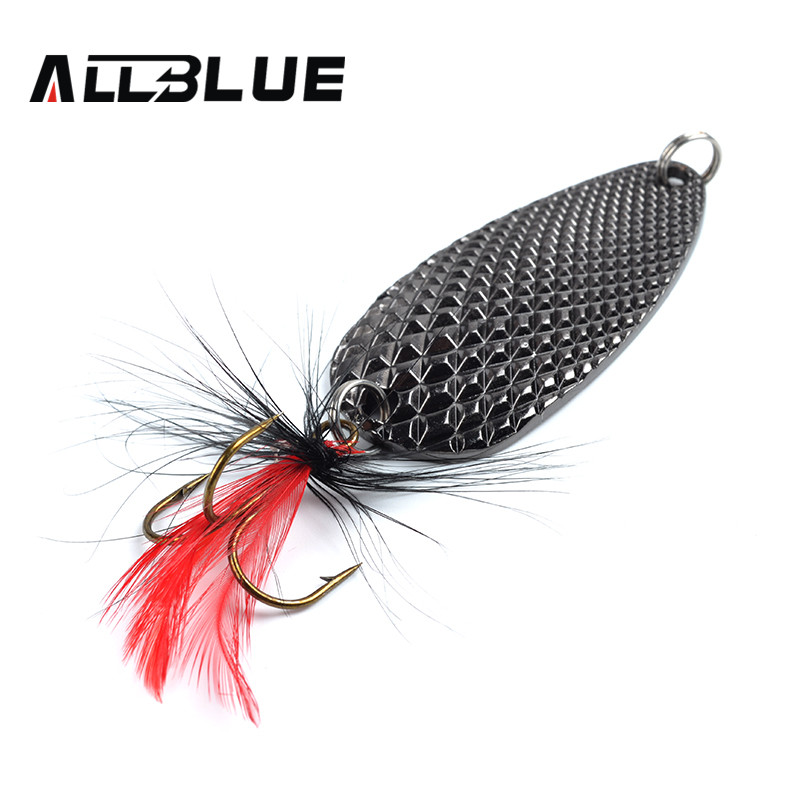Fishing Lure AllBlue Spoon Bait 24g 6cm Artificial Lures Spinner Lure Metal Bait Fishing Tackle Armed With Feather Hook(China (Mainland))