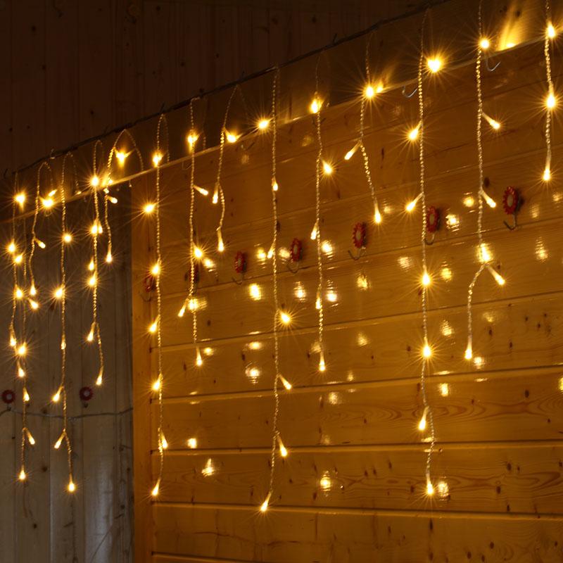 LED Curtain Light 1.5mx0.5m LED Christmas Fairy String Lights Garden Icicle Holiday Wedding Party Xmas Decoration EU US Plug(China (Mainland))