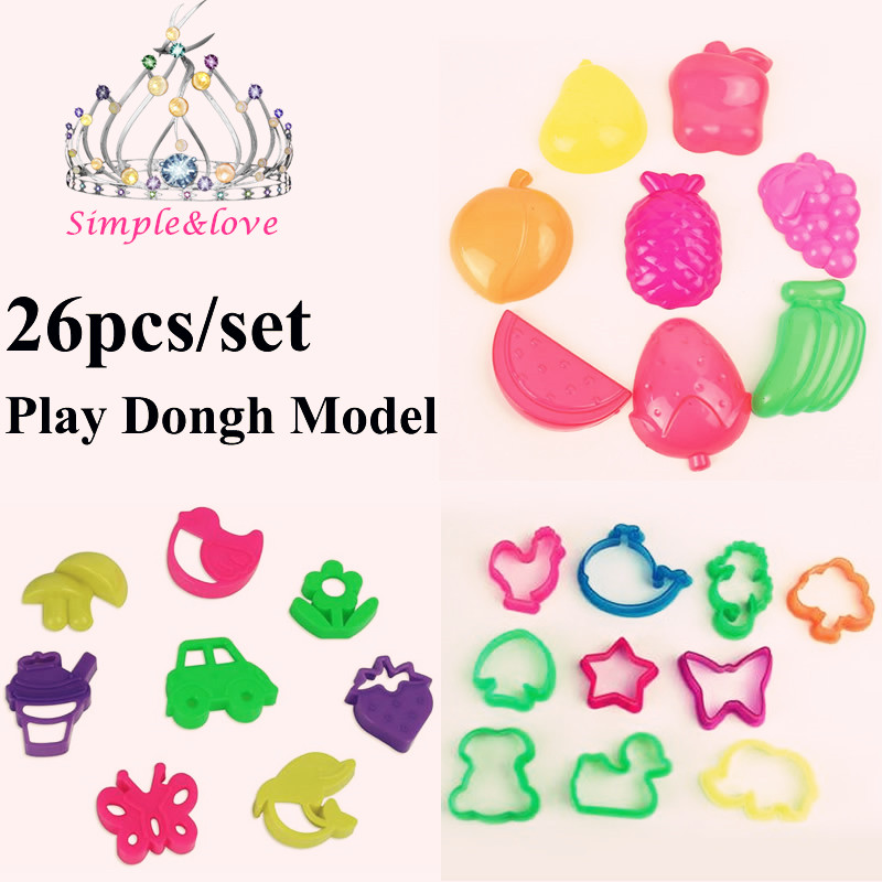 26 Pieces Color Play Dough Model Light Clay Tool Toys Creative 3D Plasticine Tools Playdough Modeling Clay Set SL900088(China (Mainland))