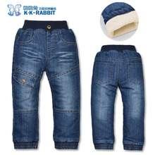 High quality KK-RABBIT Winter Thick Children Boys Jeans Kids Trousers Baby Children Pants(China (Mainland))