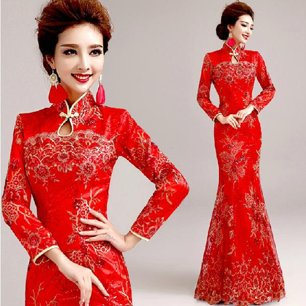 Fashionable new 2015 long sleeve winter cheongsam long for Traditional red chinese wedding dress