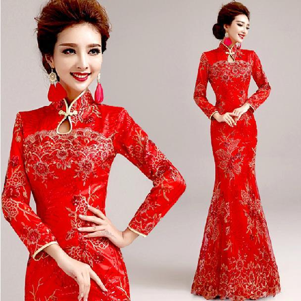 Qipao red bridal cheongsams chinese traditional dress wedding dress
