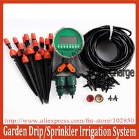 DIY Garden Irrigation System with adjustable sprinkler+dripper,Auto Garden watering system for flowers and vegetables