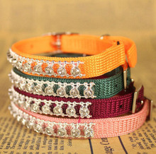 100pcs Small boutique knit collar with diamond cat collar with bell pet dog traction Free shipping(China (Mainland))