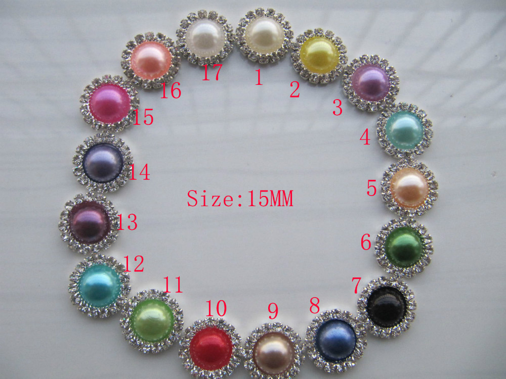Free Shipping 15mm Wholesale 100pcs/lot 17 Colors Flat Back Round Rhinestone Peal Button For Hair Flower Wedding Invitation(China (Mainland))