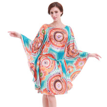 American & European PLUS SIZE bathrobe women silk nightgown Novelty print batwing sleeve sleepwear pijamas femininos inverno(China (Mainland))