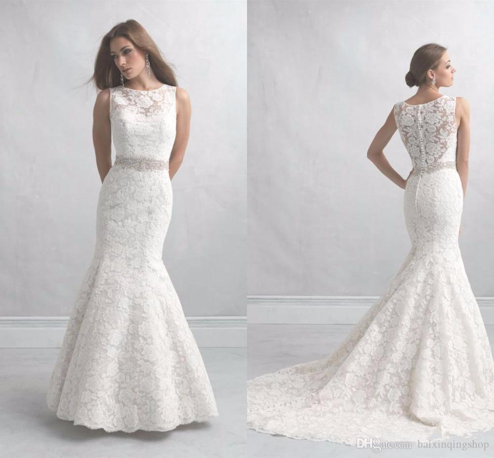 2015 ivory lace wedding dresses sheer lace back trumpet for Ivory trumpet wedding dress