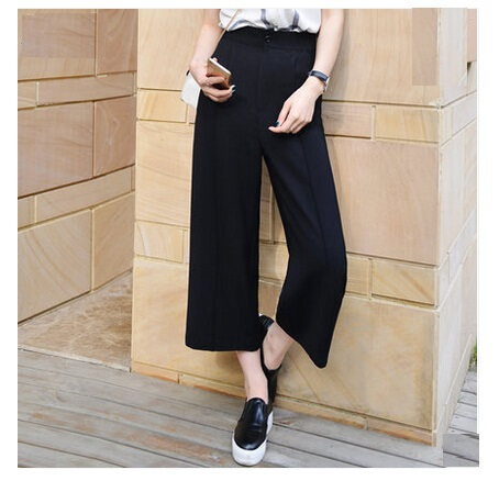 Wide Leg Pants Female High Waist Ankle Length Trousers 2015 Summer Pants Loose Casual Straight ...