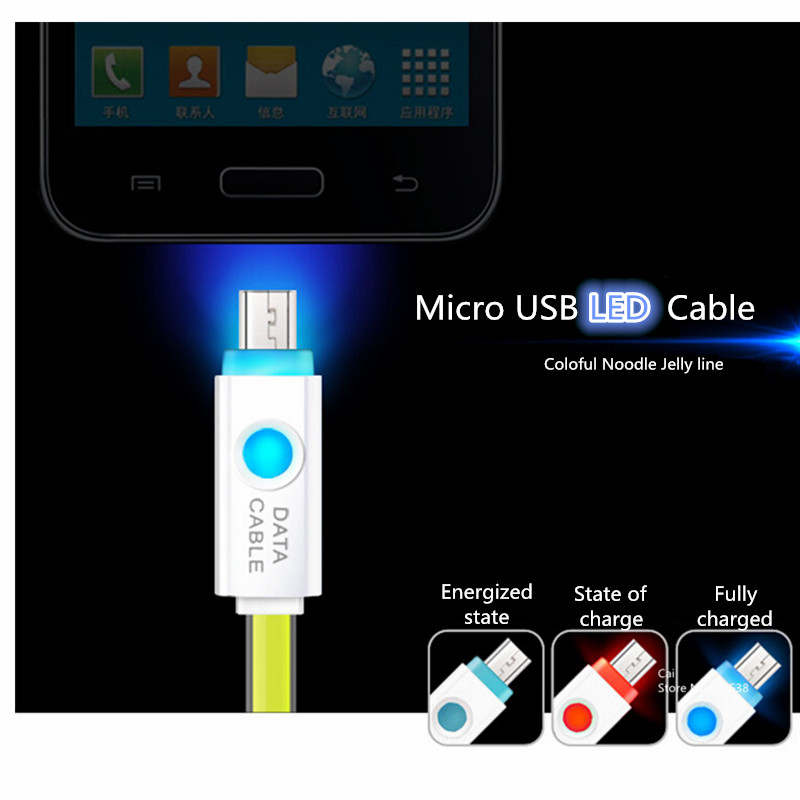 Micro USB Cable Intelligent LED Light Charging Cable For Samsung S6 S5 S4 Note 5 Sync Data Cable Smart Coloful Noodle Jelly line(China (Mainland))