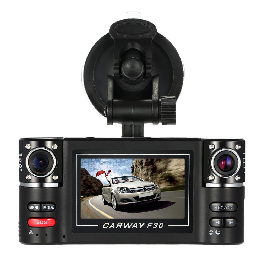 "New 2.7"" Dual Lens Car DVR Camera F30 HD Car Driving Recorder dashcam 180 Degree Registrator Recorder Night Vision Dash Cam(China (Mainland))"